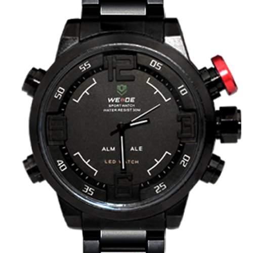 Weide, Armbanduhr, duale Zeitanzeige, Armbanduhr WH2309BW, weiße Beschriftung, schwarzes Zifferblatt