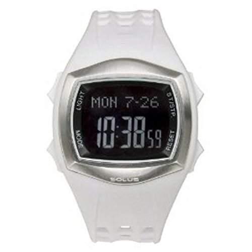 SOLUS SL-100-002 Unisex Freizeitarmbanduhr mit LCD Ziffernblatt, Datumsanzeige, Hintergrundbeleuchtung und weissem PU-Armband