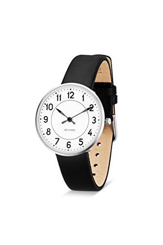 Arne Jacobsen 53401 Unisex Armbanduhr Quarzuhr mit weissem analogem Zifferblatt schwarzes Lederband