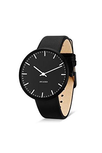 Arne Jacobsen Unisex Quarzuhr mit schwarzem Zifferblatt Analog Anzeige und schwarz Lederband 53205b