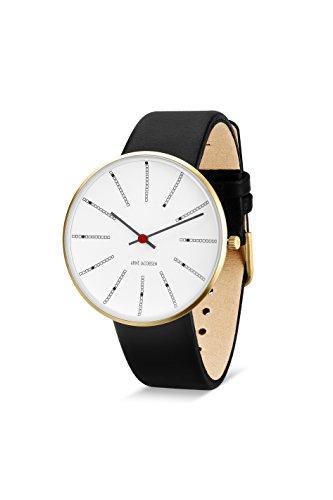 Arne Jacobsen Unisex Armbanduhr Quarzuhr mit weissem analogem Zifferblatt schwarzes Lederband 53108