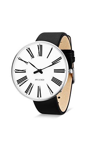 Arne Jacobsen Unisex Armbanduhr Quarzuhr mit weissem analogem Zifferblatt schwarzes Lederband 53303