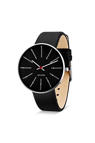Arne Jacobsen Unisex Quarzuhr mit schwarzem Zifferblatt Analog Anzeige und schwarz Lederband 53105