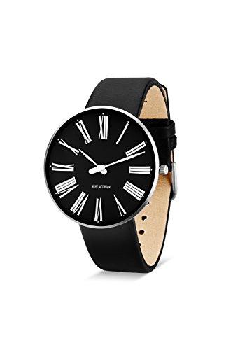Arne Jacobsen Unisex Quarzuhr mit schwarzem Zifferblatt Analog Anzeige und schwarz Lederband 53305