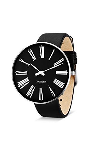 Arne Jacobsen Unisex Quarzuhr mit schwarzem Zifferblatt Analog Anzeige und schwarz Lederband 53306 Bindekamm
