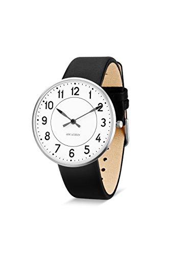 Arne Jacobsen Unisex Quarzuhr mit weissem Zifferblatt Analog Anzeige und schwarz Lederband 53402