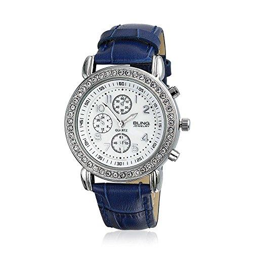 Bling Jewelry Genfer Runde Navy Leder Armband Edelstahl zurueck Watch