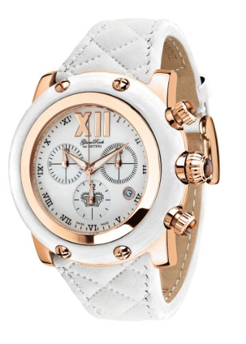 Glam Rock Damen GR10180 Miami Sammlung Chronograph Weiss Leder Uhr