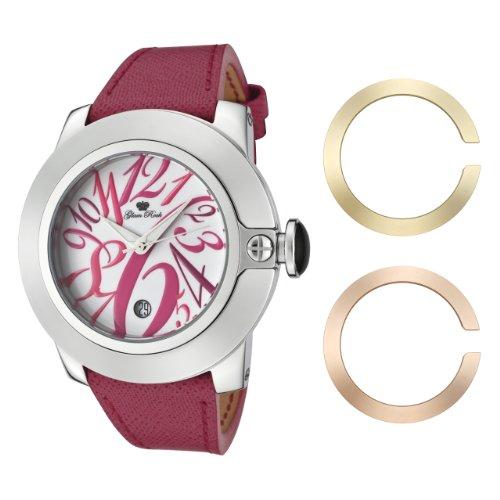 Glam Rock Damen GR32081 SoBe weisses Zifferblatt mit Multi Colored Ziffern Dark Pink Leder Uhr