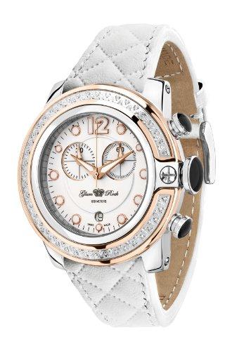 Glam Rock Damen GR32132D SoBe Chronograph Diamant Akzent White Dial Quilted Leder Uhr