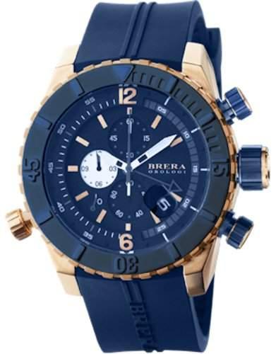 Brera Orologi Herren-Armbanduhr 48mm Armband Kautschuk Blau Gehäuse Edelstahl Quarz Analog BRDVC4707