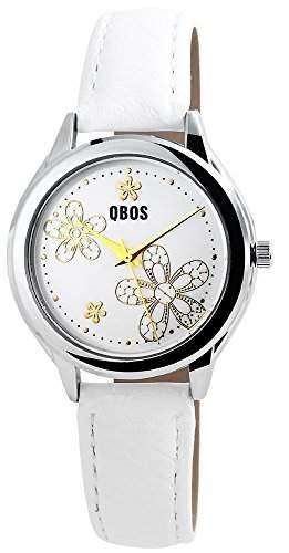 QBOS Damenuhr Armbanduhr analog Quarzwerk Blumen auf dem Zifferblatt Bandfarbe Weiss
