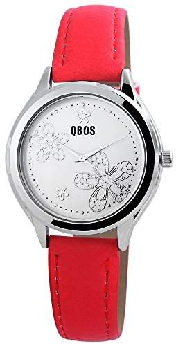 QBOS Damenuhr Armbanduhr analog Quarzwerk Blumen auf dem Zifferblatt Bandfarbe rot