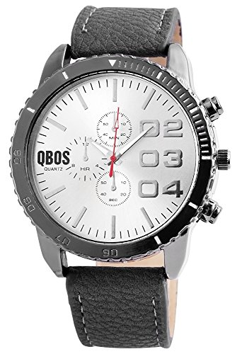 QBOS Analog Leder 50 mm Schwarz Grau RP3117150005
