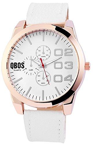 QBOS Analog Lederimitationsarmband 50 mm Weiss RP3113200003