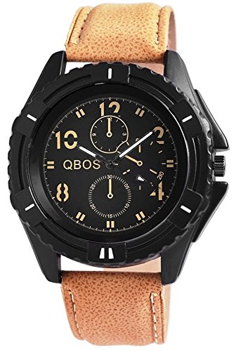 QBOS 52mm Men Watch XXL analoge Quartz Armbanduhr PU Leder