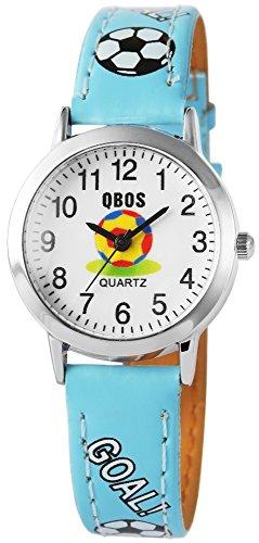 QBOS Fussball Kids Watch Soccer analog Kinderuhr mit Pu Leder Armbanduhr Hellblau