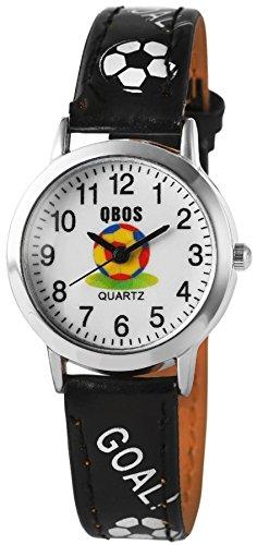 QBOS Fussball Kids Watch Soccer analog Kinderuhr mit Pu Leder Armbanduhr Schwarz
