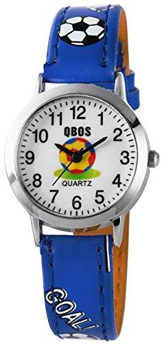 QBOS Fussball Kids Watch Soccer analog Kinderuhr mit Pu Leder Armbanduhr Blau