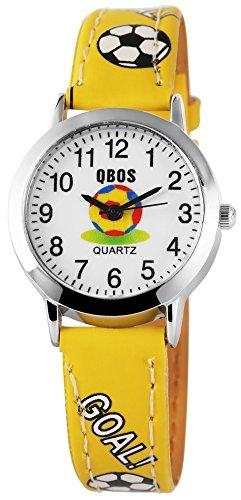 QBOS Fussball Kids Watch Soccer analog Kinderuhr mit Pu Leder Armbanduhr Gelb
