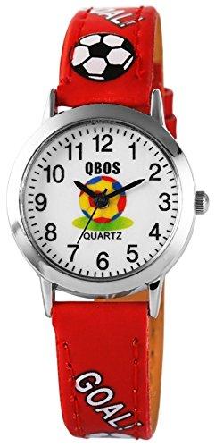 QBOS Fussball Kids Watch Soccer analog Kinderuhr mit Pu Leder Armbanduhr Rot
