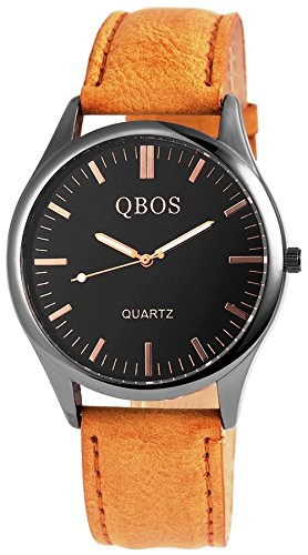QBOS hellbraune Uhr analoge Quartz Armbanduhr PU Leder