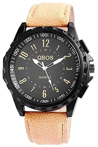 QBOS Herren Analog Uhr Pu Leder Armbanduhr Analog Klassisch Rund Quarz