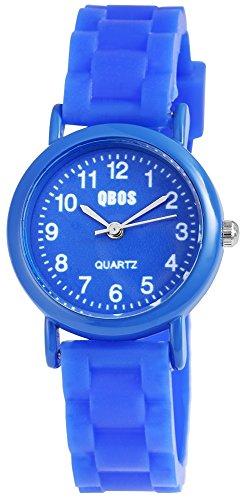 QBOS Kinderuhr Jungen Maedchen analog Armbanduhr Blau Quarzwerk und Metallgehaeuse rund 28mm x 9mm Kautschukarmband Blau 20cm x 14mm Dornschliesse und Ziffernblatt in blau RP4828300006