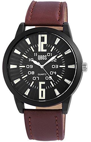 QBOS Schwarz Quarzwerk und Metallgehaeuse rund 49mm x 12mm Kunstlederarmband Braun 24cm x 24mm Dornschliesse und Ziffernblatt in schwarz RP3167100003