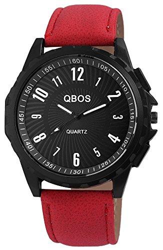 QBOS Schwarz Quarzwerk und Metallgehaeuse rund 50mm x 11mm Kunstlederarmband Rot 23cm x 24mm Dornschliesse und Ziffernblatt in schwarz RP3117130015
