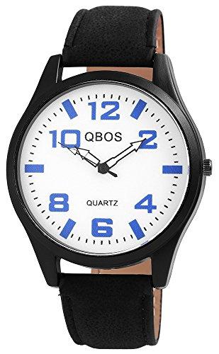 QBOS Schwarz Quarzwerk und Metallgehaeuse rund 47mm x 10mm Kunstlederarmband Schwarz 23cm x 22mm Dornschliesse und Ziffernblatt in weiss RP3117200016