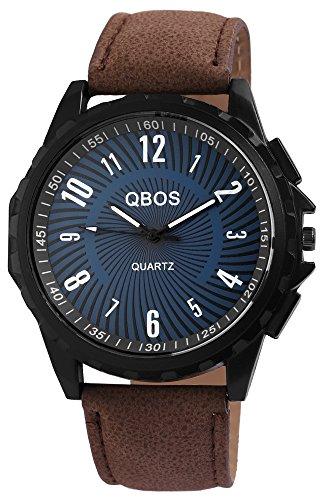 QBOS Schwarz Quarzwerk und Metallgehaeuse rund 50mm x 11mm Kunstlederarmband Braun 23cm x 24mm Dornschliesse und Ziffernblatt in grau RP3117300015