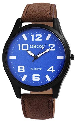 QBOS Schwarz Quarzwerk und Metallgehaeuse rund 47mm x 10mm Kunstlederarmband Braun 23cm x 22mm Dornschliesse und Ziffernblatt in blau RP3117300016