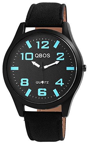 QBOS Schwarz Quarzwerk und Metallgehaeuse rund 47mm x 10mm Kunstlederarmband Schwarz 23cm x 22mm Faltschliesse und Ziffernblatt in schwarz RP3117100016