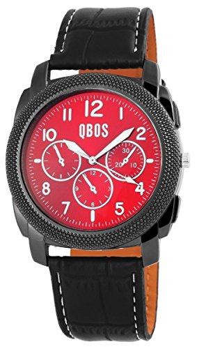 QBOS Herren mit Quarzwerk RP3087500004 und Metallgehaeuse mit Kunstlederarmband in Schwarz und Dornschliesse Ziffernblattfarbe rot Bandgesamtlaenge 24 cm Armbandbreite 24 mm