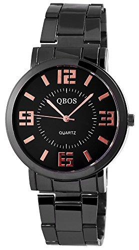 QBOS Damen mit Quarzwerk RP3027100002 und Metallgehaeuse mit Metallarmband in Schwarz und Faltschliesse Ziffernblattfarbe schwarz Bandgesamtlaenge 19 cm Armbandbreite 20 mm