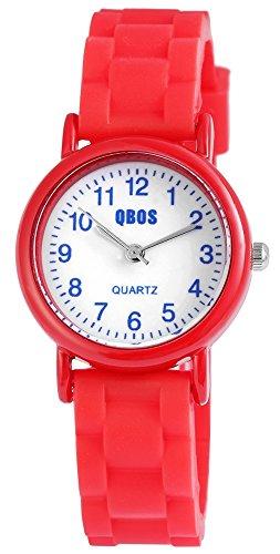 QBOS Kinderuhr Jungen Maedchen analog Armbanduhr Rot Quarzwerk und Metallgehaeuse rund 28mm x 9mm Silikonarmband Hellrot 20cm x 14mm Dornschliesse und Ziffernblatt in weiss RP4828200006