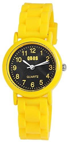 QBOS Kinderuhr Jungen Maedchen Gelb Quarzwerk und Metallgehaeuse rund 28mm x 9mm Silikonarmband Gelb 20cm x 14mm Dornschliesse und Ziffernblatt in schwarz RP4828100006