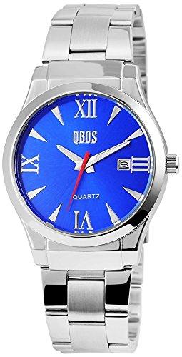 QBOS Herren mit Quarzwerk RP3122300005 Metallgehaeuse mit Edelstahl Armband in Silberfarbig und Faltschliesse Ziffernblattfarbe Blau Bandgesamtlaenge 20 cm Armbandbreite 22 mm