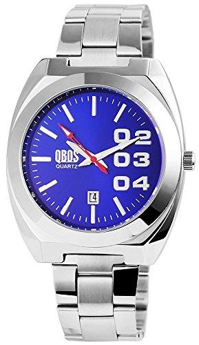 QBOS Herren mit Quarzwerk RP3122300006 Metallgehaeuse mit Edelstahl Armband in Silberfarbig und Faltschliesse Ziffernblattfarbe Blau Bandgesamtlaenge 19 cm Armbandbreite 22 mm