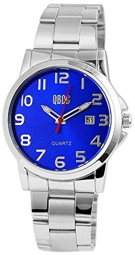 QBOS Herren mit Quarzwerk RP3122300004 Metallgehaeuse mit Edelstahl Armband in Silberfarbig und Faltschliesse Ziffernblattfarbe Blau Bandgesamtlaenge 20 cm Armbandbreite 22 mm