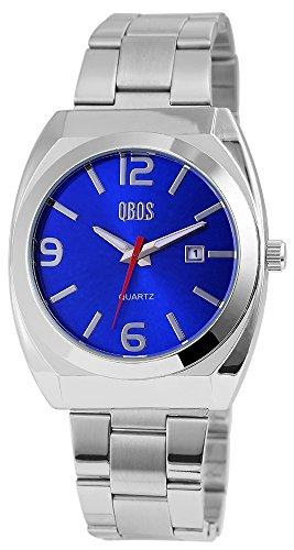QBOS Herren mit Quarzwerk RP3122300001 Metallgehaeuse mit Edelstahl Armband in Silberfarbig und Faltschliesse Ziffernblattfarbe Blau Bandgesamtlaenge 20 cm Armbandbreite 22 mm