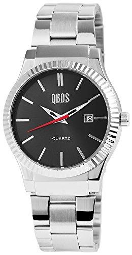 QBOS Herren mit Quarzwerk RP3122100010 Metallgehaeuse mit Edelstahl Armband in Silberfarbig und Faltschliesse Ziffernblattfarbe Anthrazit Bandgesamtlaenge 20 cm Armbandbreite 22 mm