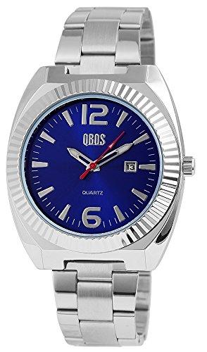 QBOS Herren mit Quarzwerk RP3122300003 Metallgehaeuse mit Edelstahl Armband in Silberfarbig und Faltschliesse Ziffernblattfarbe Blau Bandgesamtlaenge 19 cm Armbandbreite 22 mm