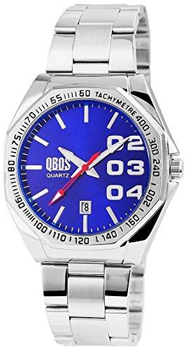 QBOS Herren mit Quarzwerk RP3122300007 Metallgehaeuse mit Edelstahl Armband in Silberfarbig und Faltschliesse Ziffernblattfarbe Blau Bandgesamtlaenge 19 cm Armbandbreite 22 mm