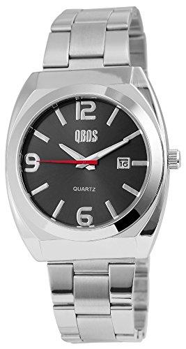 QBOS Herren mit Quarzwerk RP3122100001 Metallgehaeuse mit Edelstahl Armband in Silberfarbig und Faltschliesse Ziffernblattfarbe Anthrazit Bandgesamtlaenge 20 cm Armbandbreite 22 mm