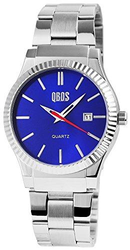 QBOS Herren mit Quarzwerk RP3122300010 Metallgehaeuse mit Edelstahl Armband in Silberfarbig und Faltschliesse Ziffernblattfarbe Blau Bandgesamtlaenge 20 cm Armbandbreite 22 mm