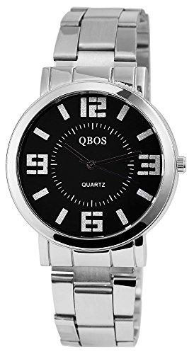 QBOS Herren mit Quarzwerk RP3022100002 Metallgehaeuse mit Edelstahl Armband in Silberfarbig und Faltschliesse Ziffernblattfarbe Schwarz Bandgesamtlaenge 19 cm Armbandbreite 20 mm