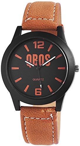 QBOS Herren mit Quarzwerk RP3117130014 Metallgehaeuse mit Kunstleder Armband in Hellbraun und Dornschliesse Ziffernblattfarbe Schwarz Bandgesamtlaenge 23 cm Armbandbreite 20 mm