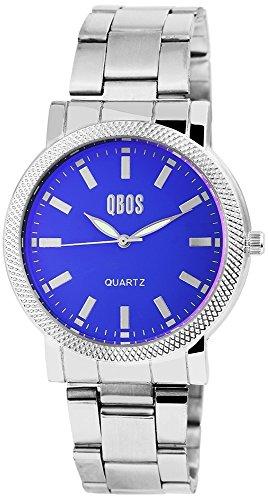 QBOS Herren mit Quarzwerk RP3042300005 Metallgehaeuse mit Edelstahl Armband in Silberfarbig und Faltschliesse Ziffernblattfarbe Blau Bandgesamtlaenge 19 cm Armbandbreite 20 mm